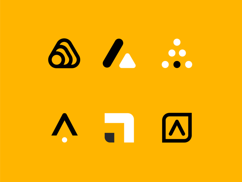 A is for Another Logo vector illustration yellow branding design identity icon mark logo