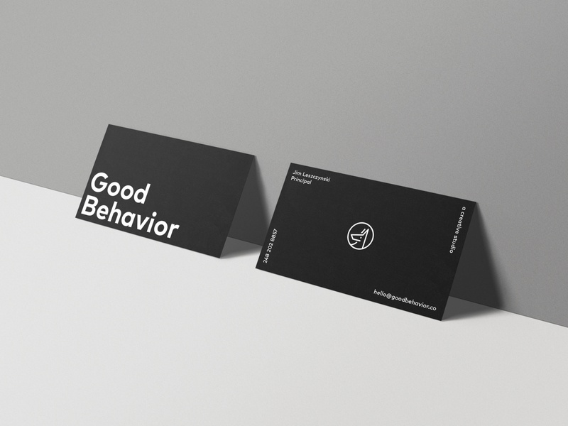 Good Behavior Business Card layout typography type black print design brand logo business card