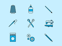 Art crafts icon full set