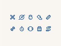 Joyfit Workout Icons ui line brand print identity vector design blue icon illustration