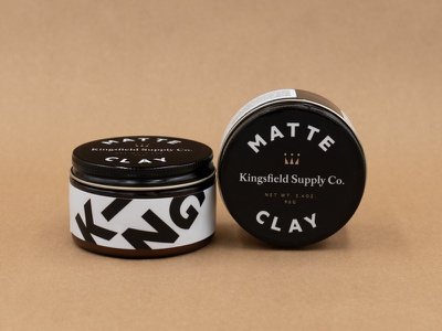 Kingsfield Matte Clay Packaging brand mark design typography branding print vector packaging design clay hair logo identity packaging