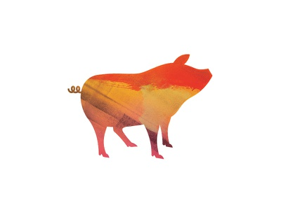 Bacon Party II illustration pig vector paint color red orange yellow swine