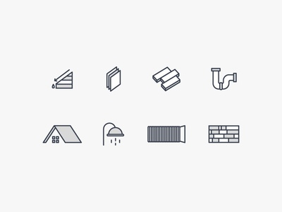 Construction Iconography gray illustration shower roof house pipe flooring construction icon