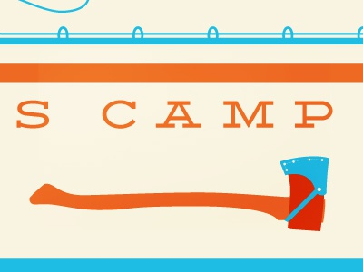 Summer Camp Card illustration print typography roller-skate axe pickle id card skate blue swim orange summer conference camp suit adventure sports vector ice-cream
