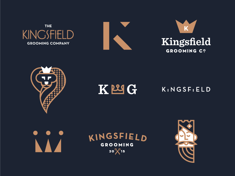 Kingsfield Grooming Identity type lettering brand logo illustration identity