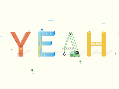 Yeahhhhhh tree shapes letters movement motion illustration