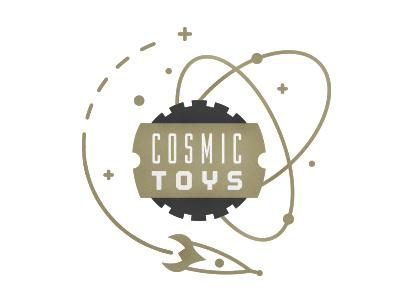 Cosmic Toys Logo logo rocket cosmic toy store branding illustration gear sprocket space star grey gold vector