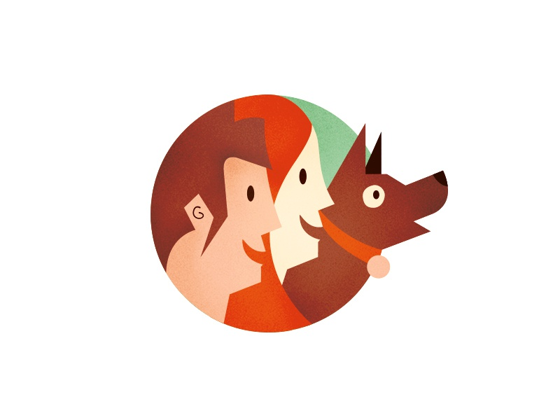 Man, Woman & Dog man woman dog illustration red green brown texture circle vector people