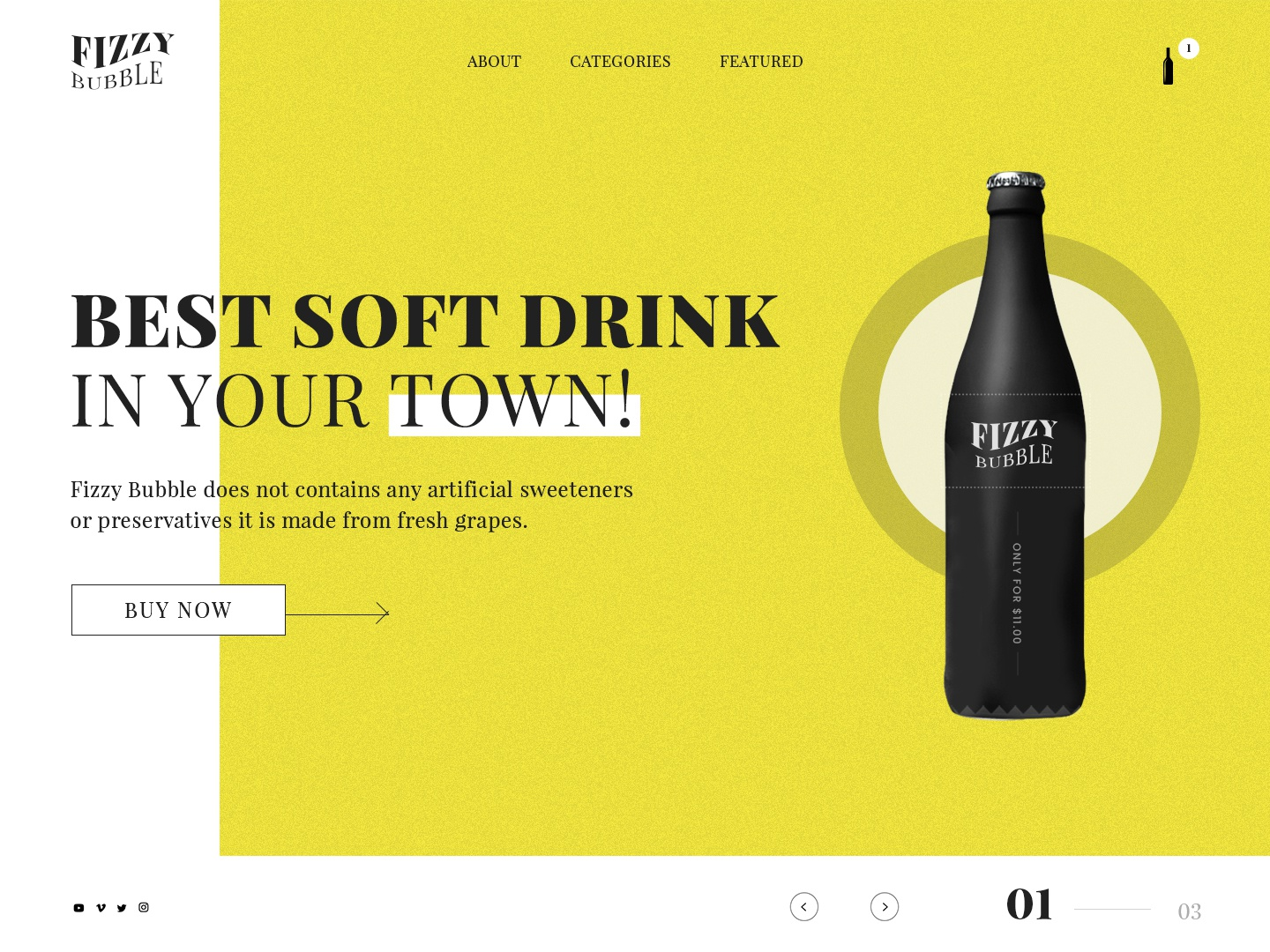 Fizzy Bubble Landing Page Banner design logo social circle carousel slider icon cart button yellow color font typography beer bear theme template mockup banner bottle