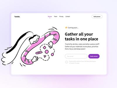 Taskdo. Landing Page Concept with Illustration lovely color landing design brash todo landing page ui pink illustration