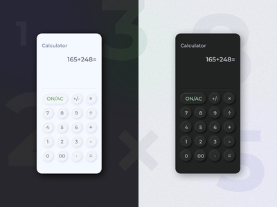 Calculator for DailyUI 004 dailyui004 @challenge neomorphism @mobile @dailyui