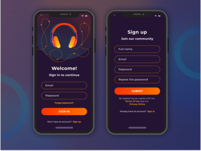 Sign up page for podcasts app