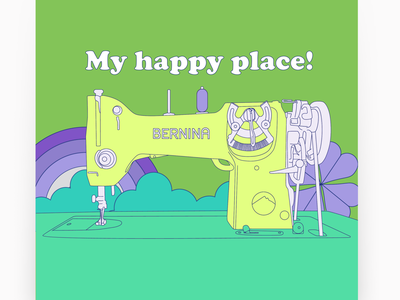 my happy place colorful retro 1960s funky design illustration cute