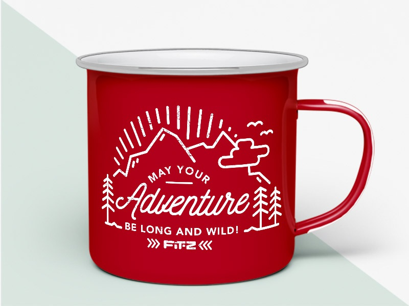 Enamel Mug FIT-Z be long and wild adventure illustration fit-z mug enamel