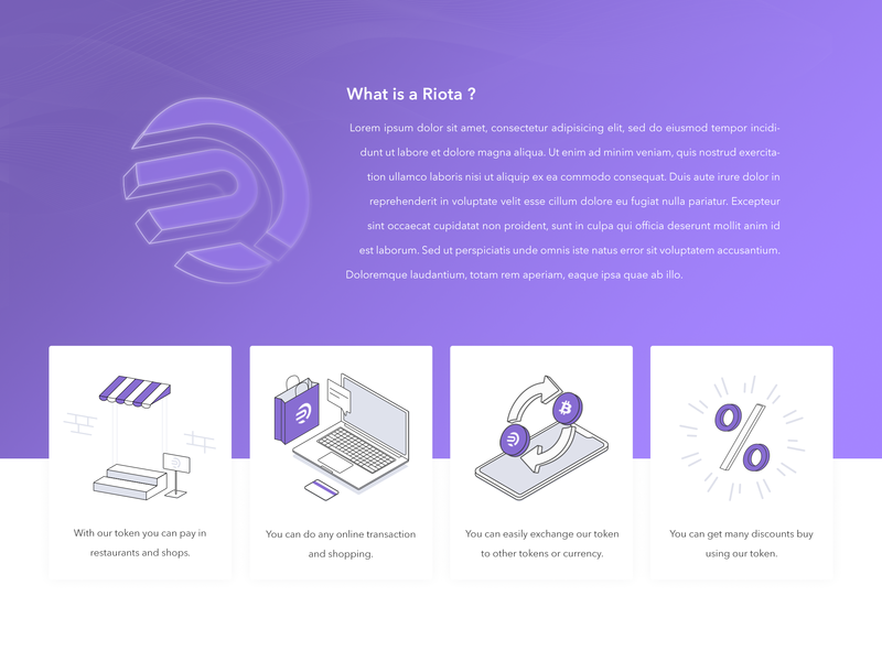 Cryptocurrency /Riota / outline icons outline logo outline 3d art 3d icon 3d illustration minimal vector graphic ux  ui token crypto currency violet logo icon illustrations illustration
