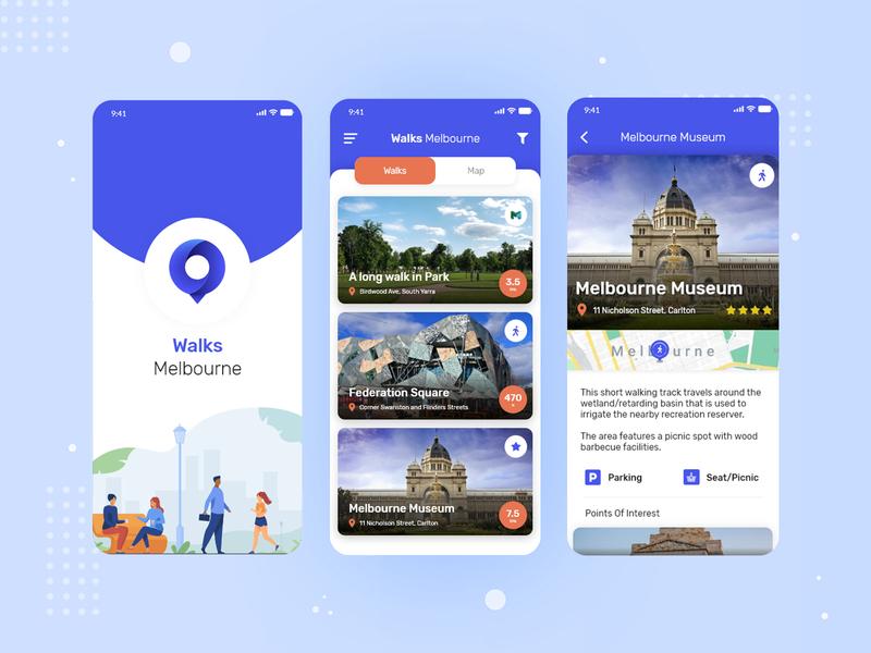 Walks Melbourne - UI/UX Design design app minimal ui ux uiux mobile ui
