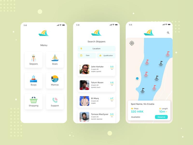 Skipper app to find sailing companions mobile app uidesigner uidesign ux uiux ui mobile ui minimal app design