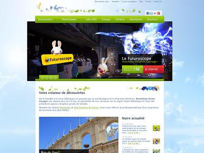 Tourism website homepage tourism sky blue green big slideshow
