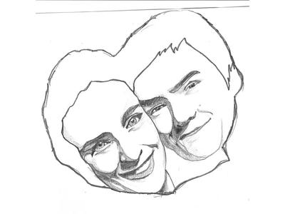 Dessin couple self-portrait drawing