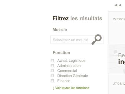 Sidebar detail sidebar filter search pagination list light background