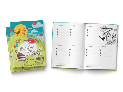 diary of joy, successes and gratitude typography illustration drawn diary