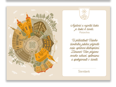 Desing for the Šternberk city. vector typography illustration drawn