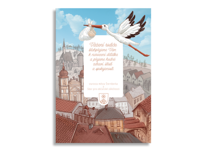 Desing for the Šternberk city design photoshop hand coloring typography illustration drawn