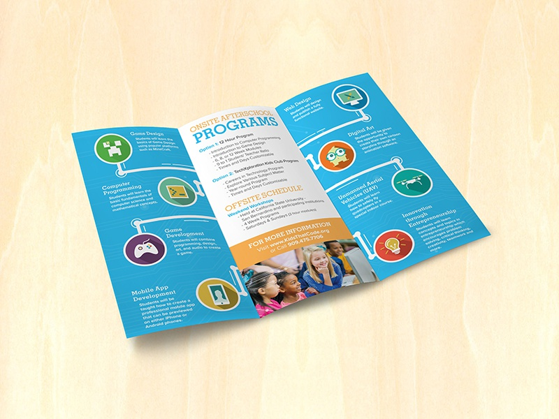 Kids That Code Trifold Brochure design programing school icons tri fold kids brochure
