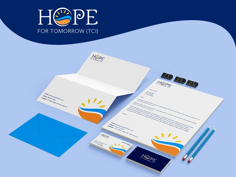 Hope For Tommorrow  Brand Identity stationary design modern logo minimalist simple creative clean businesscard branding brand identity