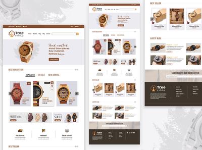 Landing Page Design: Tree Watches ecommerce shop illustration newbie designer logo design landing page design landingpage