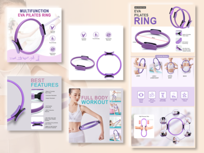 Product Listing Images: Pilates Ring listing page branding ecommerce shop shopify lazada amazon ecommerce business ecommerce design ecommerce product listing product detail page