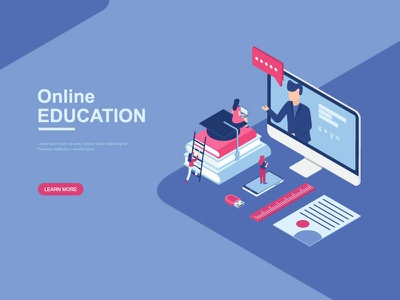 Online Education / Course Isometric illustration landingpage page teacher learning people design ui flat illustration training course isometric online education