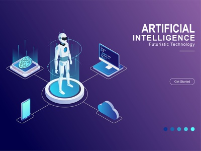 Artificial Intelligence isometric artificial intelligence intelligence illustration isometric design isometry flat ai artificial isometric