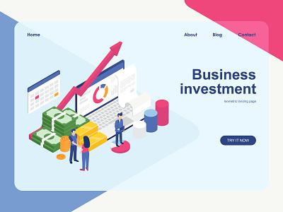 Business investment isometric design landing page investment business vector design isometric flat illustration