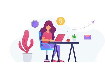 Just a freelancer girl freelancer freelance vector design illustration flat