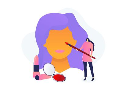 Makeup artist artist make up makeup vector design illustration flat