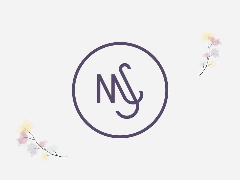 Marina & Sebastian flower branding concept wedding logo m. s circle modern geometric simple monogram