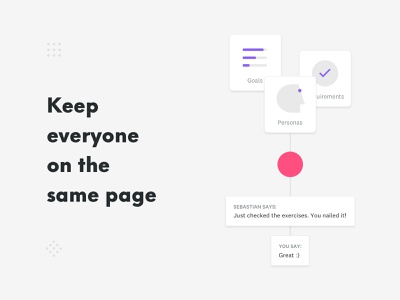 Keep everyone on the same page design process briefing website online tool minimal clean vector process web flat icon ux ui illustration design logo branding