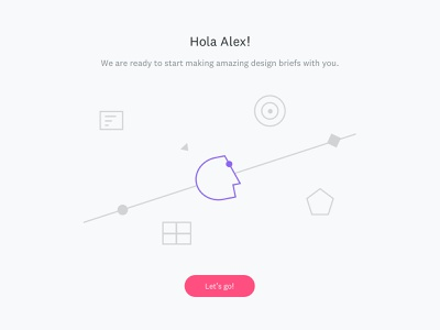 Welcome page in HolaBrief design process briefing website online tool minimal clean vector web flat icon ux ui illustration design branding