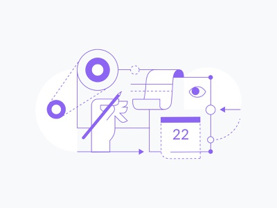 Finding our style holabrief ui design process concept website process minimal clean icon flat vector illustration design branding