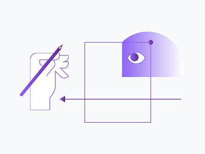 HolaBrief illustrations eye holabrief hands art direction ui design process concept website process minimal clean web icon flat vector illustration design branding