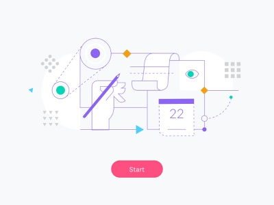 Project Overview Illustration design process process minimal clean icon flat vector logo branding design illustration