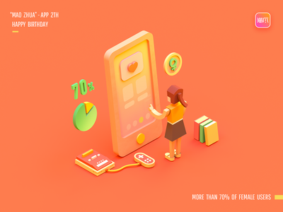 MAO ZHUA - APP 3D illustration animation banner poster web web design icon design