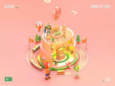Sina Games China Joy 2019 Animation ui poster icon 3d c4d animation design