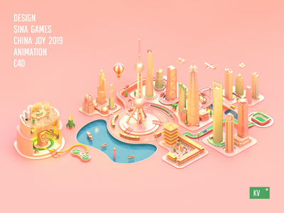 Sina Games China Joy 2019 KV animation poster web web design icon design c4d