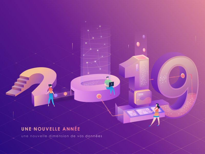 new year card 2019 number typography 3d 25d illustration isomatric light purple data transform 2019