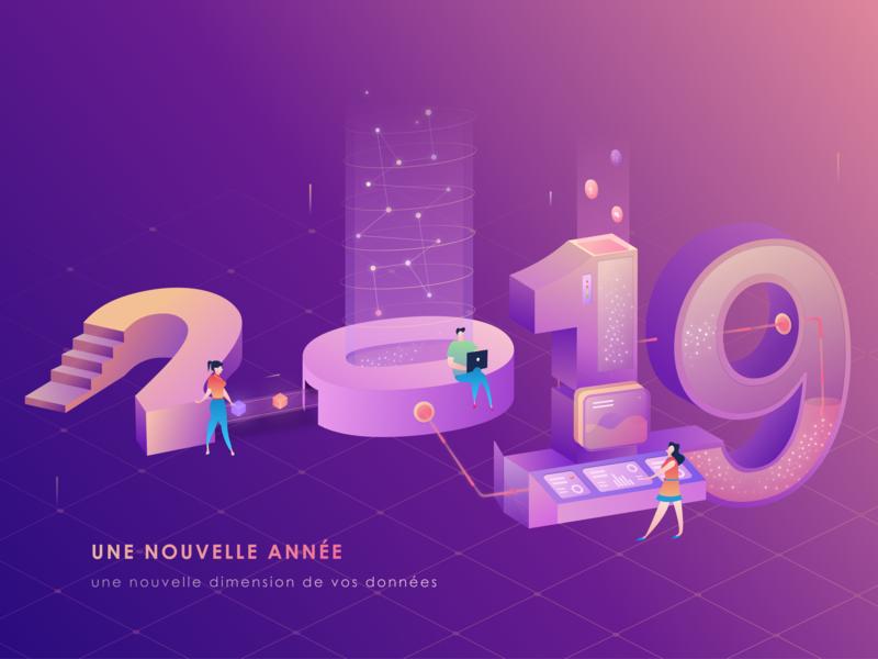 New Year Card 2019 number typography 3d 2.5d illustration isomatric light purple data transform 2019 data digitalization new year card wish card wish new year