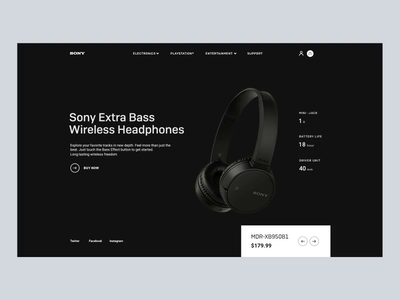 Sony headphones headphones ecommerce white black animation sony banner design