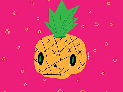 Cráneo Piña watermelon visionudo branding illustration design concept character vector ilustracion