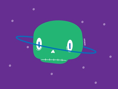 Cráneo Saturno space saturno art visionudo illustration concept character vector sketch bones